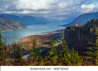 Vast expansive shot of the Columbia River Gorge. Washington and Oregon separated by the Columbia River