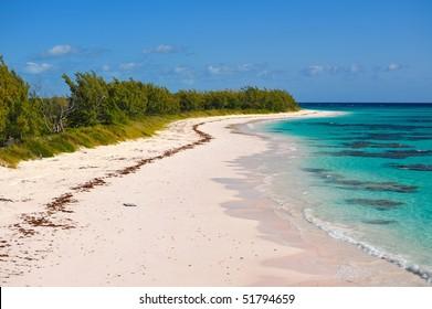 Vast pink sand beach seen in the Caribbean island Eleuthera, Bahamas