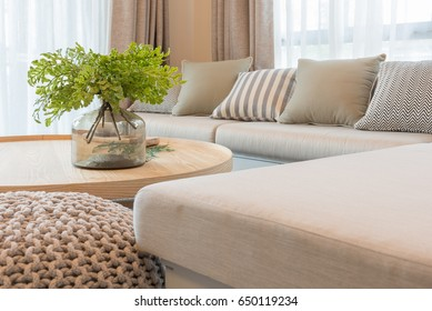 vast of plants on wooden round table in modern living room design, interior design concept