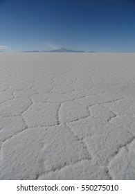 The vast white expanse of the Uyuni Salt Flats, Salar de Uyuni, Bolivia