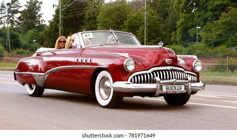 Vasteras, Sweden - July 5, 2013: One Buick Roadmaster 1949 during cruising parade at the Power Big Meet event
