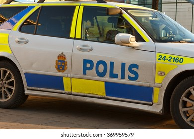 Vasteras, Sweden - November 21: Close up of a swedish police car parked outside the main trainstation on November 21, 2015 in Vasteras, Sweden.