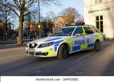 Vasteras, Sweden - November 21: Police car parked outside the main trainstation on November 21, 2015 in Vasteras, Sweden.