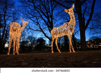 Vasteras, Sweden - November 23th: Christmas decoration in shape of a deer to make people aware of nature's fragility on November 23, 2015 in Vasteras, Sweden.