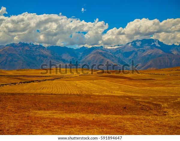The vastness of the Peruvian fields, in winter