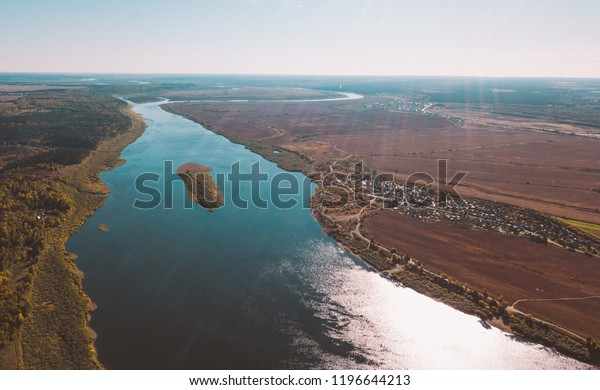 Vasyugan swamp from aerial view. Autumn landscape. Taiga forest. Nature reserve. Siberia, Russia.