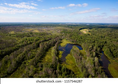 Vasyugan swamp from aerial view. The biggest swamp in the World. Taiga forest. Oil and peat deposits. Tomsk region, Siberia, Russia