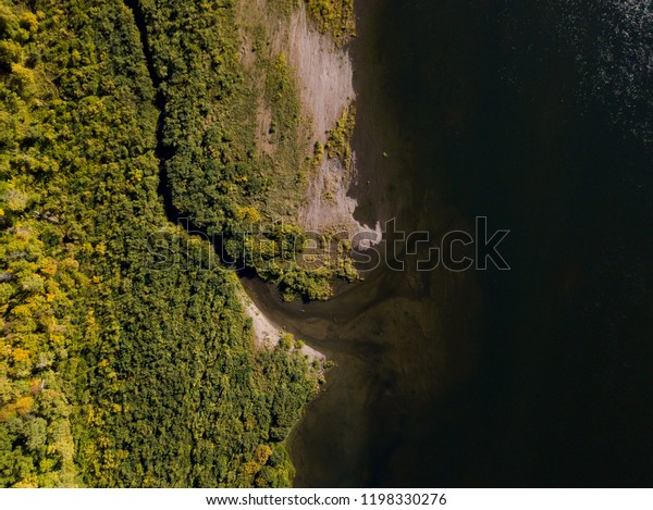 Vasyugan swamp, taiga forest, forest river from aerial view. Siberia, Russia.