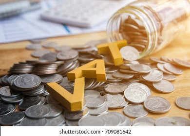 Vat Concept.Word vat put on coins  with calculator and summary report on table.
