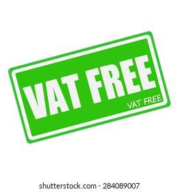 VAT FREE white stamp text on green