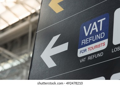 VAT Refund sign in a airport