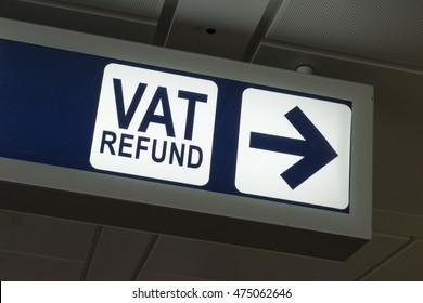 VAT Refund sign in Fiumicino airport, Rome