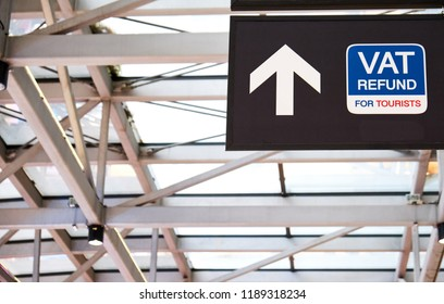 VAT refund signage in airport terminal