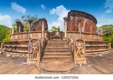 Vatadage (Round House) of Polonnaruwa ruin Unesco world heritage on Sri Lanka.
