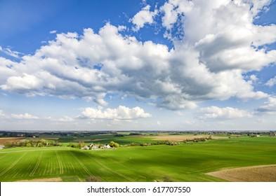 Vaterloo. View of the Waterloo plains - Napoleon battle ground. Belgium. Nature of Belgium