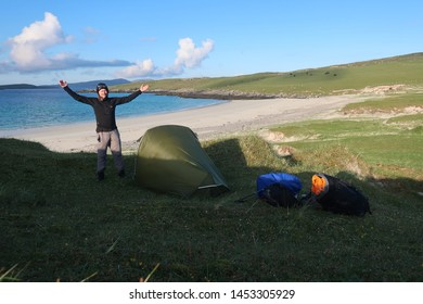 Vatersay Island. Outer Hebrides. Scotland. June. 6. 2019. Bagh A'Deas remote sand beach