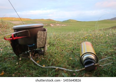 Vatersay Island. Outer Hebrides. Scotland. June. 6. 2019. Wild camping spider stove titanium pot gas can windshield on Bagh A'Deas beach