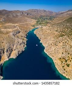 Vathy and Rina gulf in Kalymnos island Greece