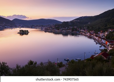 Vathy village and view of Molos Gulf in Ithaca island, Greece.