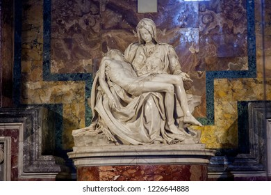 Vatica, Rome - 10 September 2012: Statue of Maria and Jusus by Michelangelo in the St. Pieter basilica