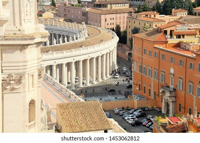 Vatican, 10/22/2015 Illustrative Editorial Aerial view of Rome from the roof of the main Catholic cathedral, a fragment of the colonnade of the main square.