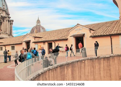 Vatican, 10/22/2015 Illustrative Editorial. Cafe and souvenir shop on the roof of the main Catholic cathedral, people eagerly visit the shops and acquire various things for memory