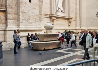 Vatican, 10/22/2015 Illustrative Editorial Drinking water fountain in the courtyard of the main Catholic cathedral.