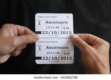 Vatican, 10/22/2015 Illustrative Editorial Two tickets to the dome of the main Catholic cathedral, just purchased at the box office.