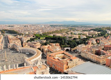 Vatican, 10/22/2015 Illustrative Editorial View of Rome from the dome of the main Catholic cathedral, a fragment of St. Peter's Square.