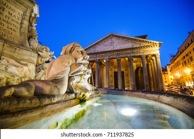 Vatican - 5 August 2017: Pantheon at the Piazza della Rotonda in Rome, Italy