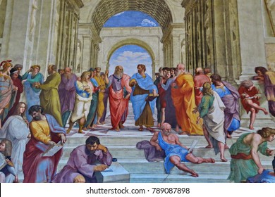 Vatican, August 18, 2014:  The School of Athens. The fresco of the 16th century in one of the rooms of Raphael (Stanze di Raffaello) in the Vatican Museum.