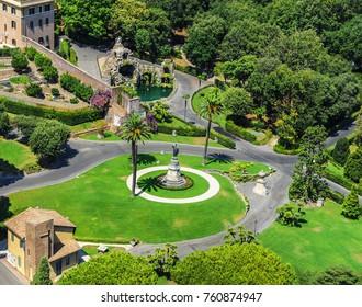 Vatican - August 2017: Aerial view on Vatican gardens