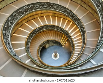 """Vatican City; 03/07/2020; The modern double helix staircase,  commonly referred to as the """"Bramante Staircase"""" in Vatican museums"""
