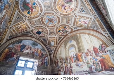 Vatican City, 17 May 2017: Interior of Raphael Room with famous fresco, the School of Athens, in Vatican Museum in Italy