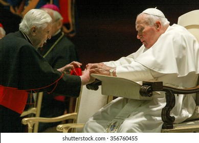 VATICAN CITY, VATICAN - 18 OCTOBER 2003: Pope John Paul II greets Cardinal Ratzinger during the weekly general audience in the Nervi Hall at the Vatican.