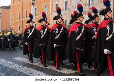 Vatican City, 25th December, 2019.  Military Corps parade during the Holy Mass in St. Peter's Square in Vatican City to celebrate the traditional 'Urbi et Orbi' of Christmas.