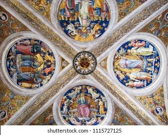 VATICAN CITY -APRIL 11, 2010: Painting illustrates the religious stories on the dome ceiling of Vatican cathedral