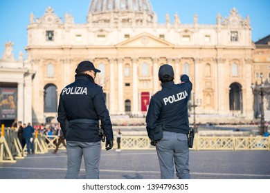 Vatican City - April 17, 2019: Police officers on duty at St Peter's square in Vatican City.