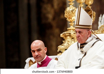 Vatican City, April 20, 2019. Pope Francis celebrates the Easter vigil ceremony in St. Peter's Basilica.