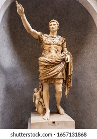 Vatican City, Vatican - August 10 2019: the famous Augustus of Prima Porta statue in Vatican museums