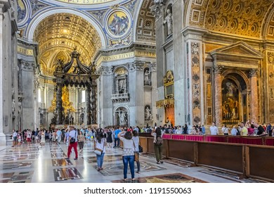 VATICAN CITY - AUGUST 8, 2016: Interior of St. Peter's Basilica. Papal Basilica of St. Peter in Vatican - the world's largest church, is the center of Christianity.