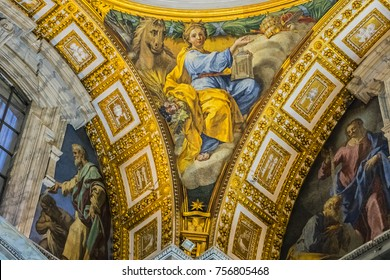 VATICAN CITY - AUGUST 8, 2016: Interior of St. Peter's Basilica: Fragments of walls and ceiling of basilica. Papal Basilica of St. Peter in Vatican - world's largest church, is center of Christianity.