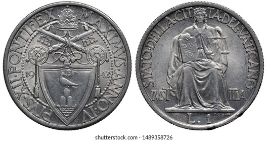 Vatican City coin 1 one lira 1942, ruler Pope Pius XII, crossed keys above shield with dove, tiara on top, sitting Justice holding book and scales, denomination below,