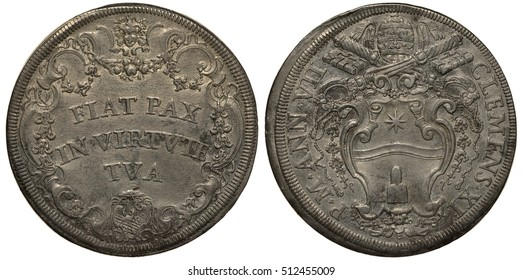 Vatican City coin 1 one piaster 1708/1709, motto in Latin Let peace be inside you within circular vignette, pope Clement XI, papal arms, St. Peterâs keys above, tiara, silver,