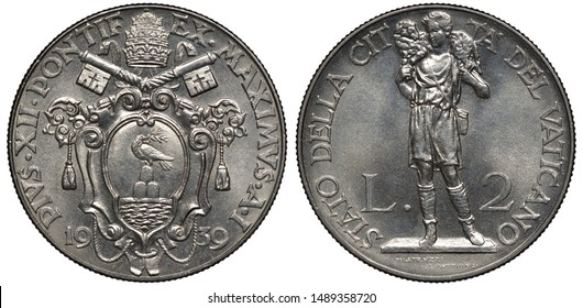 Vatican City coin 2 two lire 1939, ruler Pope Pius XII, crossed keys above shield with dove, tiara on top, shepherd with lamb on shoulders striding left,