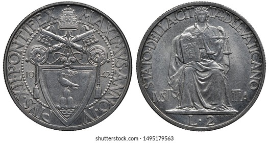 Vatican City coin 2 two lire 1942, ruler Pope Pius XII, crossed keys above shield with dove, tiara on top, sitting Justice holding book and scales, denomination below,