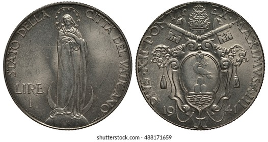 Vatican City coin one lira 1941, Virgin Mary standing, papal arms, keys, tiara, shield with dove,