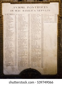 Vatican City, Vatican - December 12, 2016: List of Pope name at Saint Peter's Basilica.