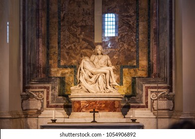 VATICAN CITY, VATICAN - DECEMBER 2, 2017. Vatican Museum. Michelangelo's Pieta or Piety in basilica of Saint Peter.