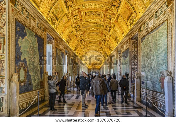 VATICAN CITY - DECEMBER 28, 2016: Ceiling and Paint Maps Corridors in Gallery of Maps (Galleria delle carte geografiche) on the west side of Belvedere Courtyard in Vatican Museums.